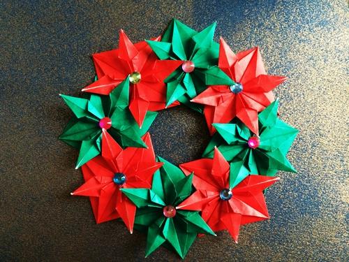 クリスマス 折り紙 折り紙 クリスマスリース : origami.i-ra.jp
